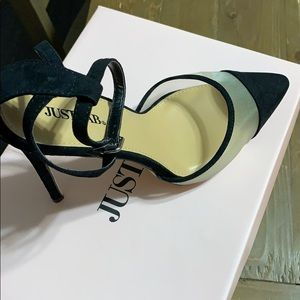 JustFab Shoes - Black heels with ankle strap. New